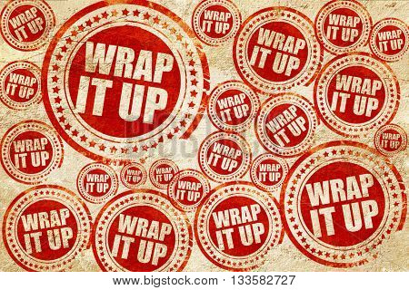 wrap it up, red stamp on a grunge paper texture