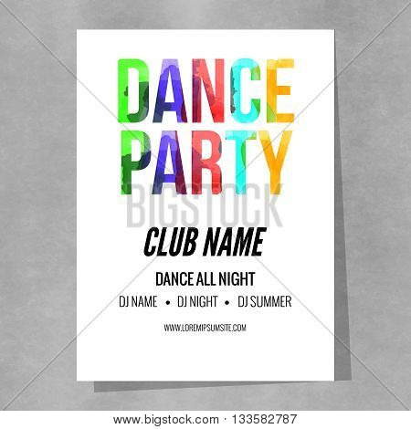 Disco Party Poster Template. Night Dance Party flyer.  Disco party design template on colorful background. Disco dance party background