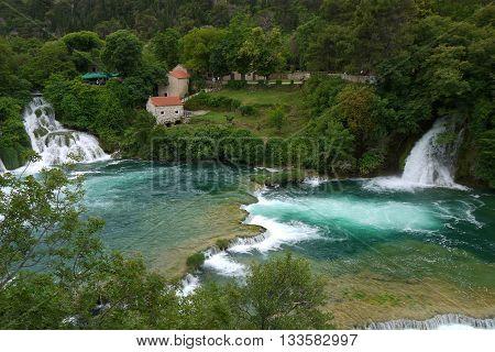 Clear blue water at Skradinski Buk Waterfall, Krka National Park, Croatia
