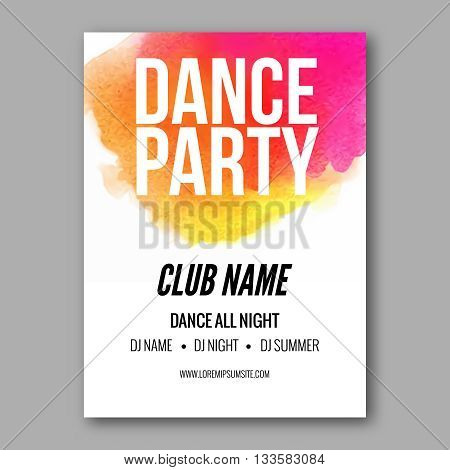 Dance Party Poster Template. Night Dance Party flyer.  Club party design template on colorful background. Dance party watercolor background