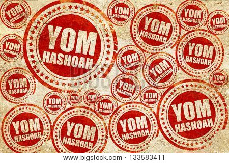 yom hashoah, red stamp on a grunge paper texture