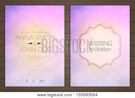 Wedding invitation card with soft romantic purple background back and front. Vector illustration