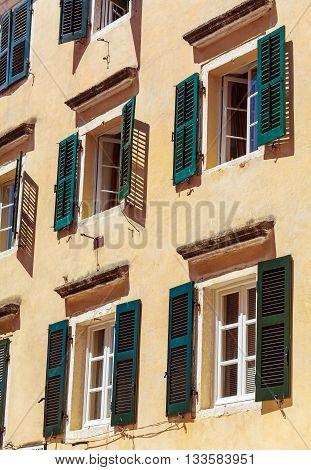 Typical Buildings In Old City, Kerkyra, Corfu Island, Greece
