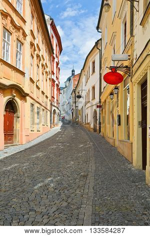 Street in the old town of Olomouc, Czech Republic.