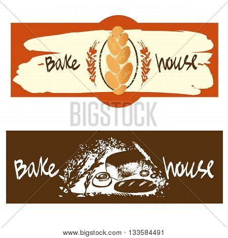 Color banner with logo for fresh bakery products from wheat and rye flour decorated with ears of wheat. Draw by hand bread. Bake house logo. Bakery shop logo.