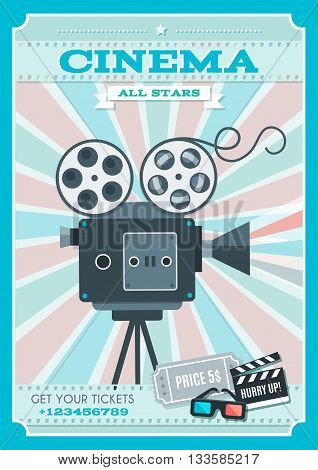 Cinema retro style poster with projector in center on background of alternating pink blue rays vector illustration