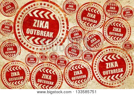 Zika virus concept background, red stamp on a grunge paper textu