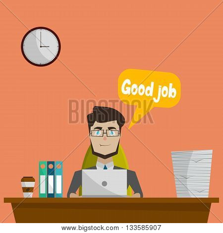 Business flat concept with worker sitting in office at work with laptop and a cloud over him good work vector illustration