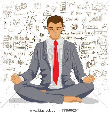Businessman meditating background of social network doodles