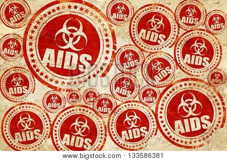 Aids virus concept background, red stamp on a grunge paper textu