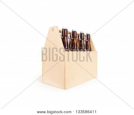 Beer wooden box side mock up isolated.  packaging mockup stand.