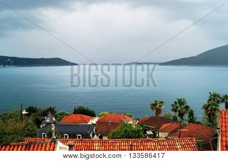 View from Herceg Novi on the way out of the Boka Bay in stormy weather (Montenegro)