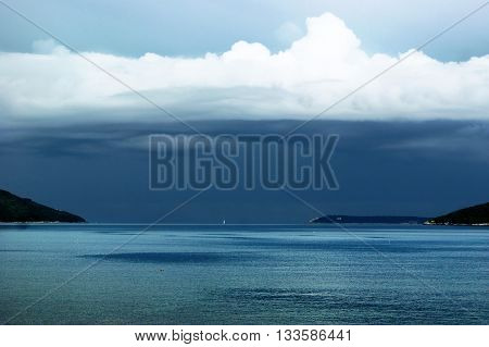 Stormy skies over exit of the Boka Bay (Montenegro)