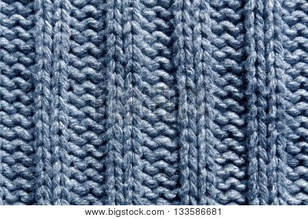 Abstract Blue Knitting Texture Close-up.
