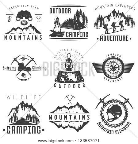 Mountains black white labels with natural landscape climbing equipment map tent bonfire compass binoculars isolated vector illustration