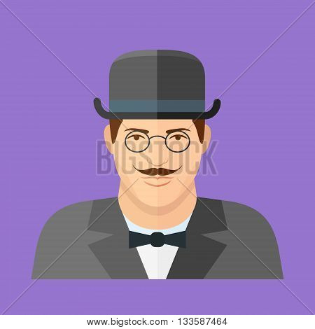 Gentleman character. Man face flat icon. Vector illustration.