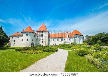 City park and old castle in Varazdin, Croatia, originally built in the 13th century