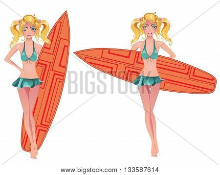 Girl With Surfing Board