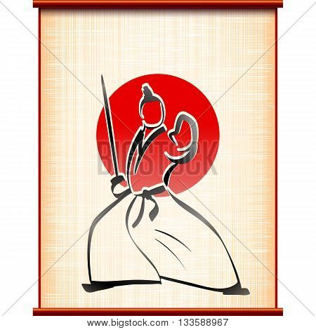 Samurai with katana in fighting stance on the background of ancient parchment; Traditional sports asian martial art; Hand-drawing of the ink painting style; Eps10
