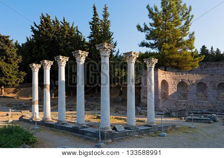 Remains of the Temple of Apollo in the archaeological site of Asclepieion in Kos, island, Greece