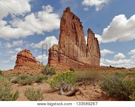 Courthouse Towers in Arches National Park, Utah. The Organ in the foreground and the Tower of Babel in the background.