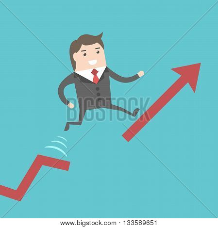 Businessman Running Up Chart