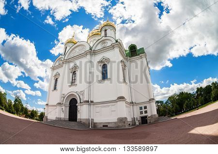 ST.PETERSBURG RUSSIA - AUGUST 4 2015: Fisheye view on Catherine's Cathedral in Pushkin town in summer sunny day