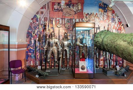 ST.PETERSBURG RUSSIA - AUGUST 8 2015: Interior of one of the halls of the Museum of Artillery
