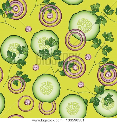 Onion, cucumber, parsley vector seamless pattern. Vegetable vegetarian template on the yellow background. Slice salad bar template.