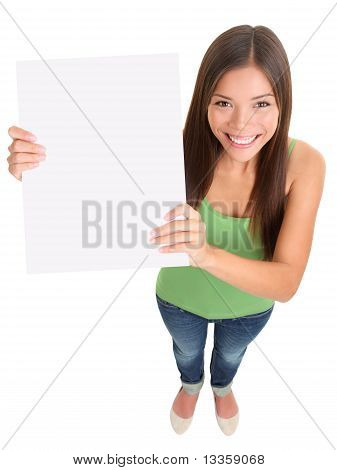 Blank Sign Woman Isolated