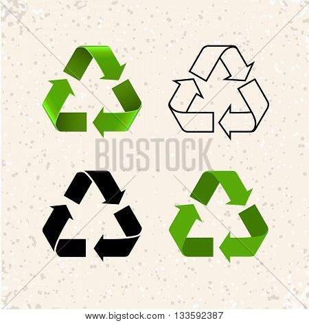Circular arrows, vector recycle icons isolated on white. Different styles recycle symbols