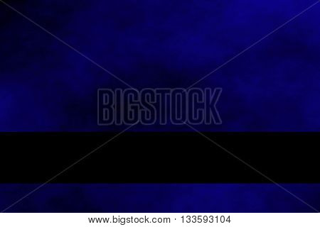 Dark blue and black smoky background with black banner