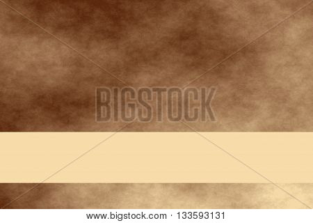Brown and vanilla colored smoky background with vanilla colored banner