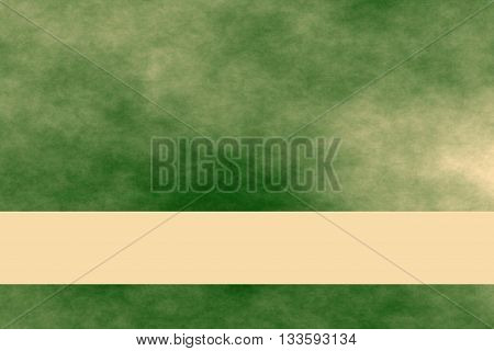Dark green and vanilla colored smoky background with vanilla colored banner
