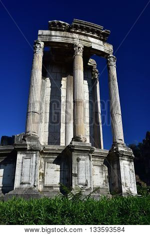 Ruins of the ancient circular Temple of Vesta in the center of Roman Forum