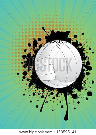 Volleyball Ball On Rays Background