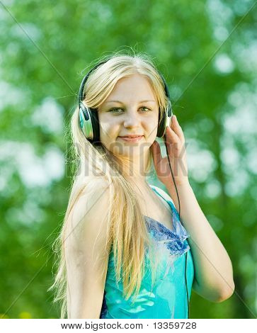 Girl Listening Music  Outdoor