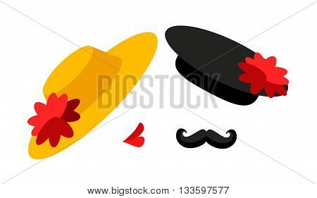Abstract illustration of a woman who is about to kiss in the cheek a handsome man with mustache.