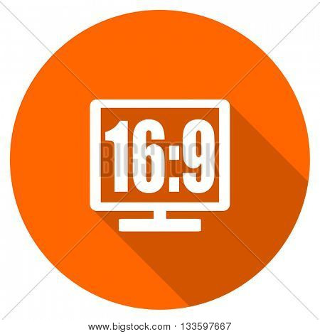 16 9 display vector icon, circle flat design internet button, web and mobile app illustration