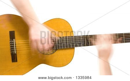 Classical Acoustic Guitar And Hands (Slow Motion) Of Musician