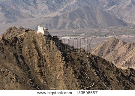 Fort and Namgyal or red gompa is main Buddhist centre in Leh-Ladakh. India