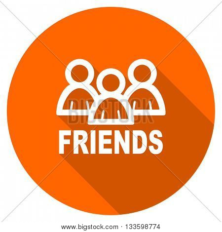 friends vector icon, circle flat design internet button, web and mobile app illustration