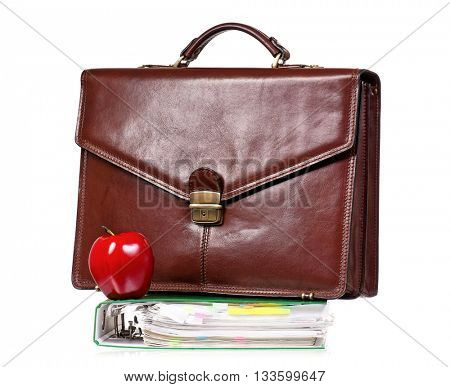 Brown leather briefcase with file folder, isolated on white background