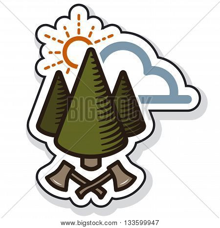 vintage tree label with cloud and ax