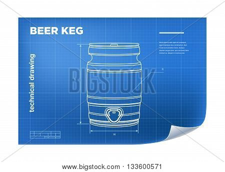 Technical wireframe Illustration with beer keg drawing on the blueprint.