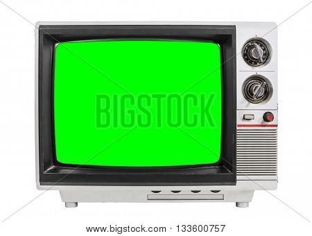 Old television isolated on white with chroma green screen.