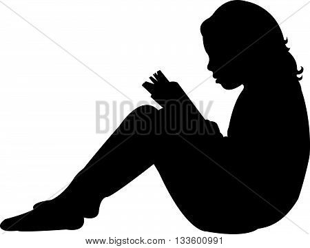 a child reading the book, silhouette vector