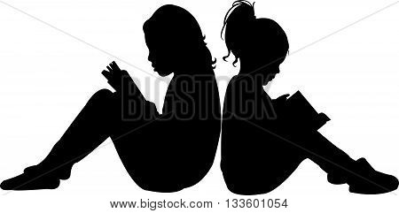 two children reading the book, silhouette vector