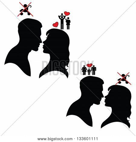 Psychology of relations. Silhouette of man and woman. Conflict. Child free.