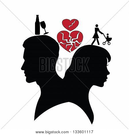 Psychology of relations. Silhouette of man and woman. Divorce and broken family. The reason for the divorce is  alcoholism.